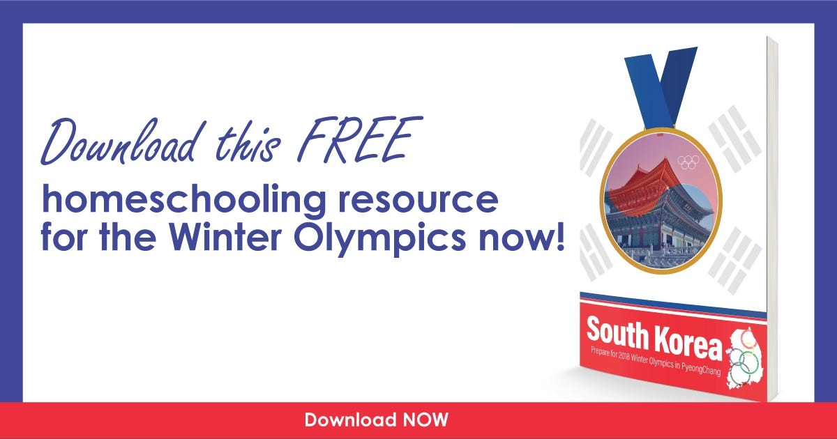 SOUTH KOREA Homeschool Unit Study for the Winter Olympics 2018