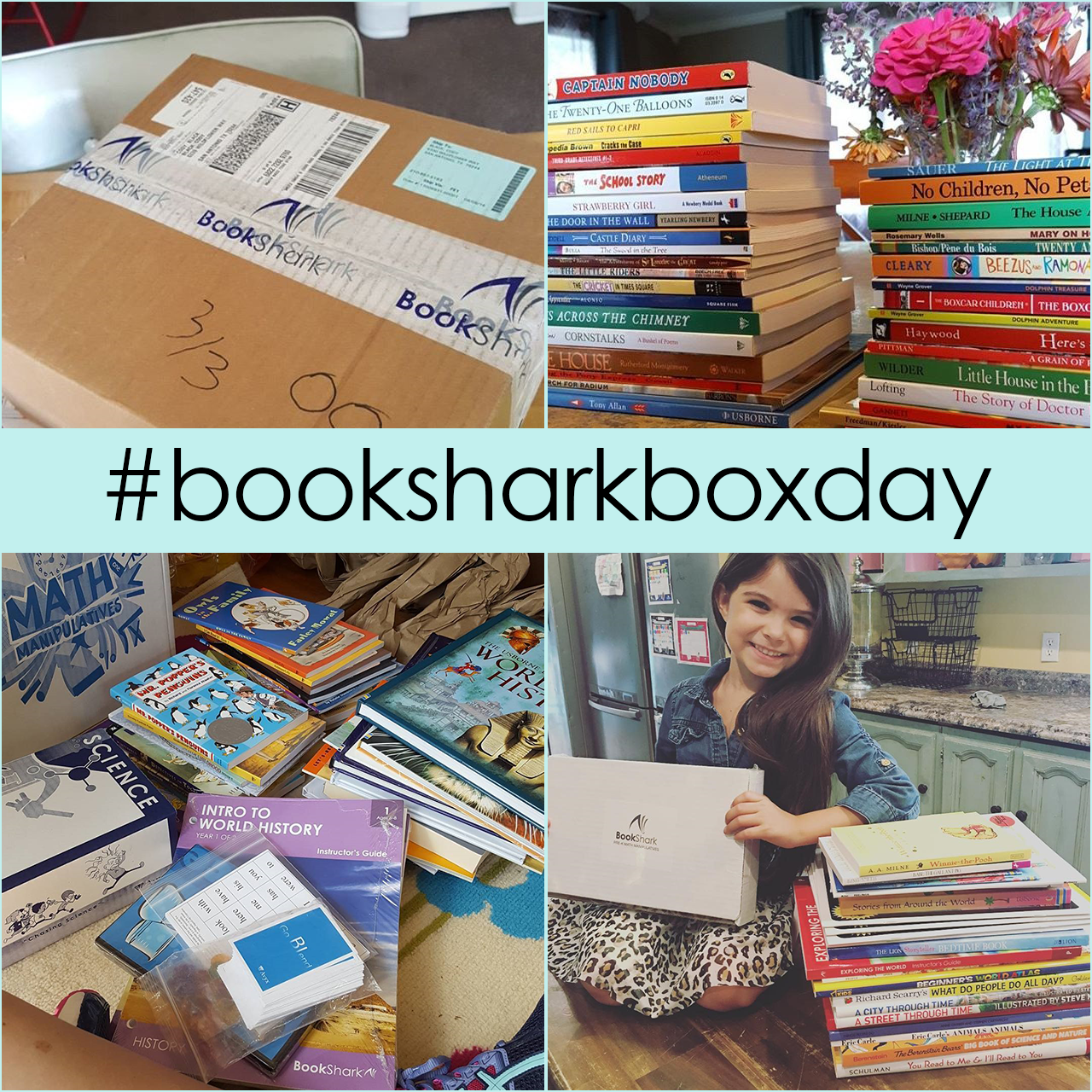 BookShark Box Day Photos from Instagram • photo credits clockwise from top left: @switchbladeseasea, @lynnfrey, @love_most_sweet, @jennlylarrabee