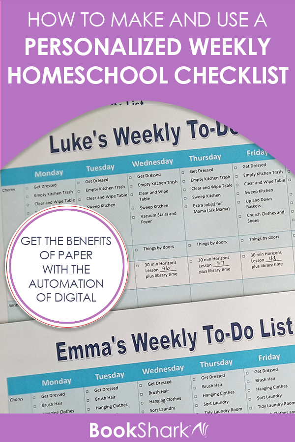 How to Make and Use a Personalized Weekly Homeschool Checklist