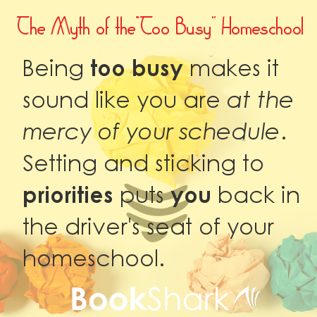 Being too busy makes it sound like you are at the mercy of your schedule. Setting and sticking to priorities puts you back in the driver's seat of your homeschool.