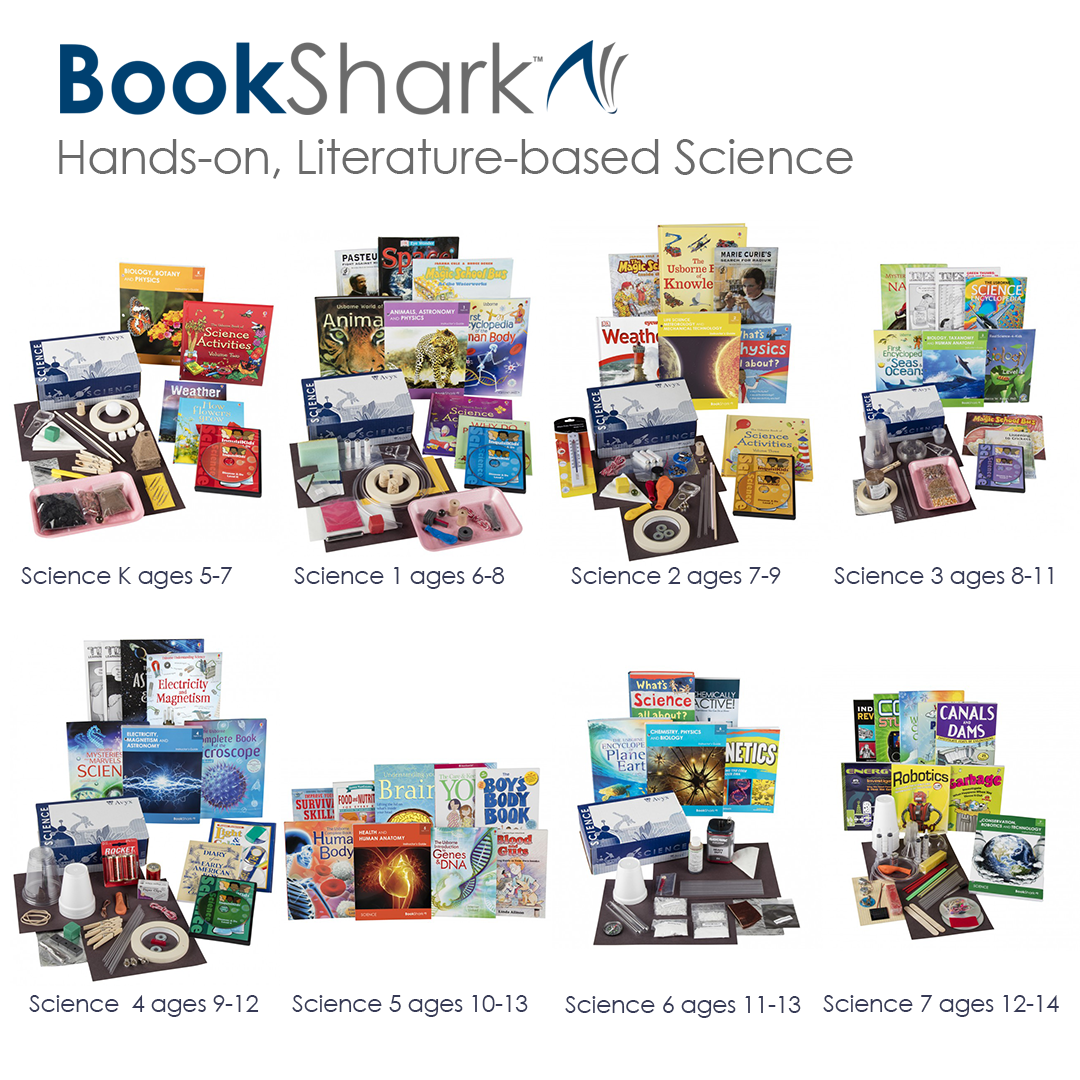 BookShark Science Packages for kids ages 5-14 • literature based, hands-on, faith-neutral, 4-day curriculum