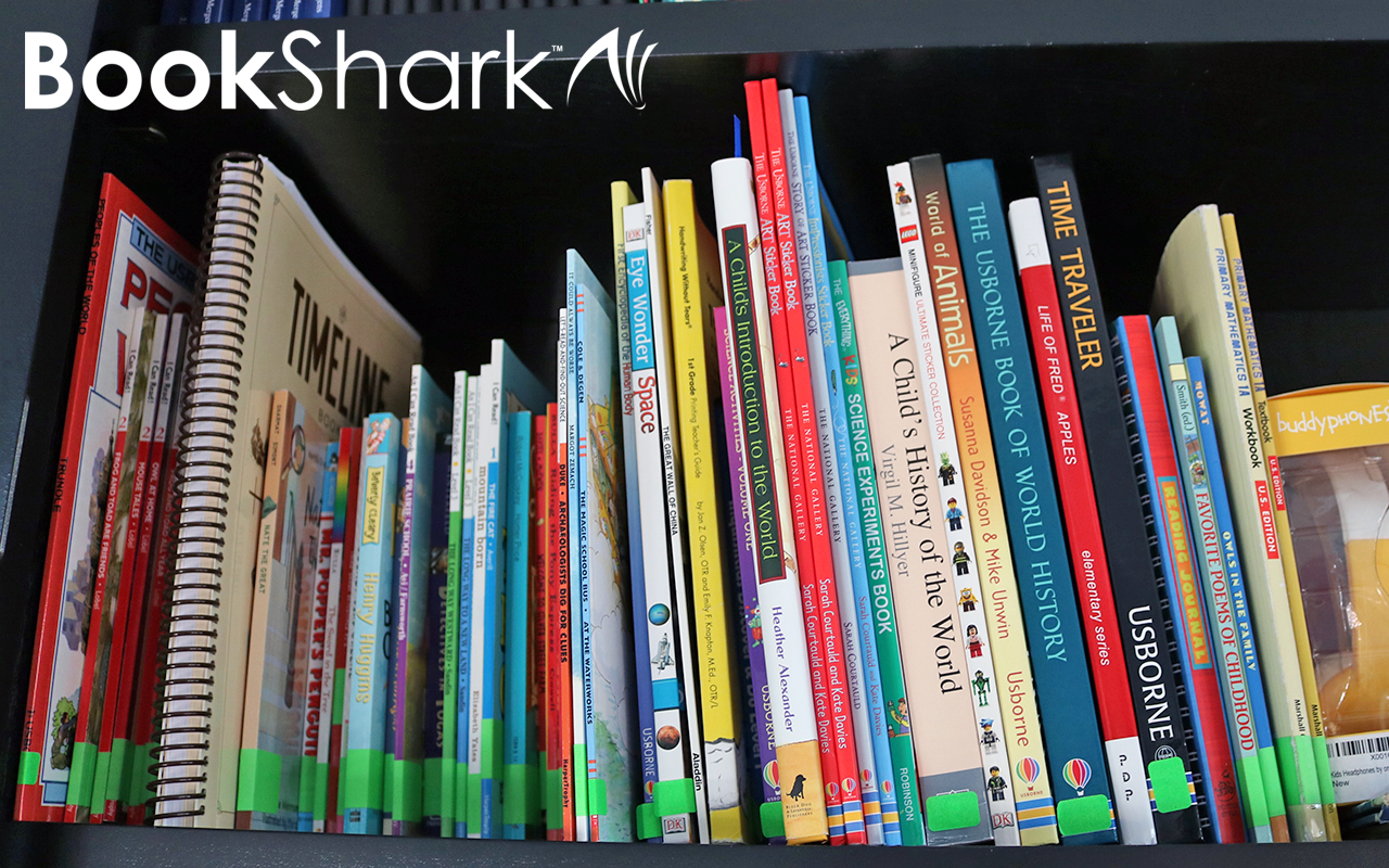 Tanya's BookShark shelf with Level 1